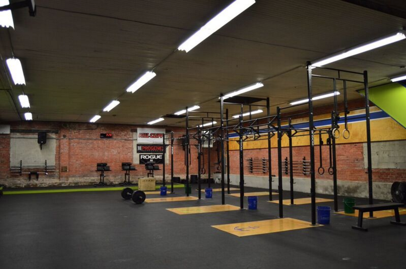 Harborside CrossFit interior displaying barbell and rig