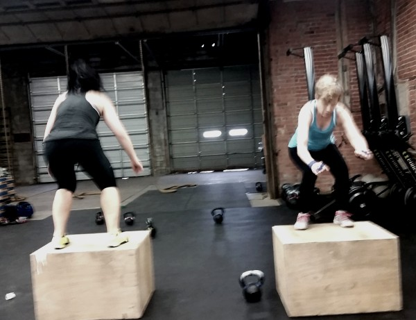 Box jumps during the daily WOD