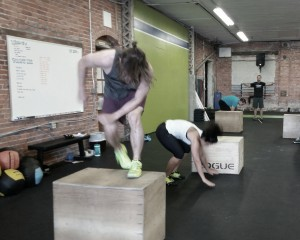 Box jumping and burpees