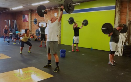 Bear complex at Harborside Crossfit in Buffalo, NY