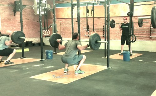 Back squatting at Harborside Crossfit