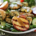 Pesto Shrimp and Grilled Peach Salad