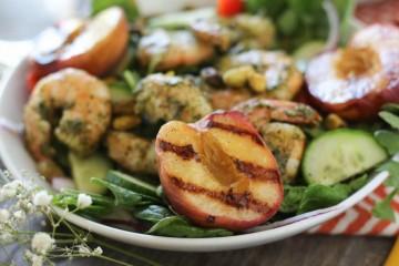 Pesto Shrimp and Grilled Peach Salad